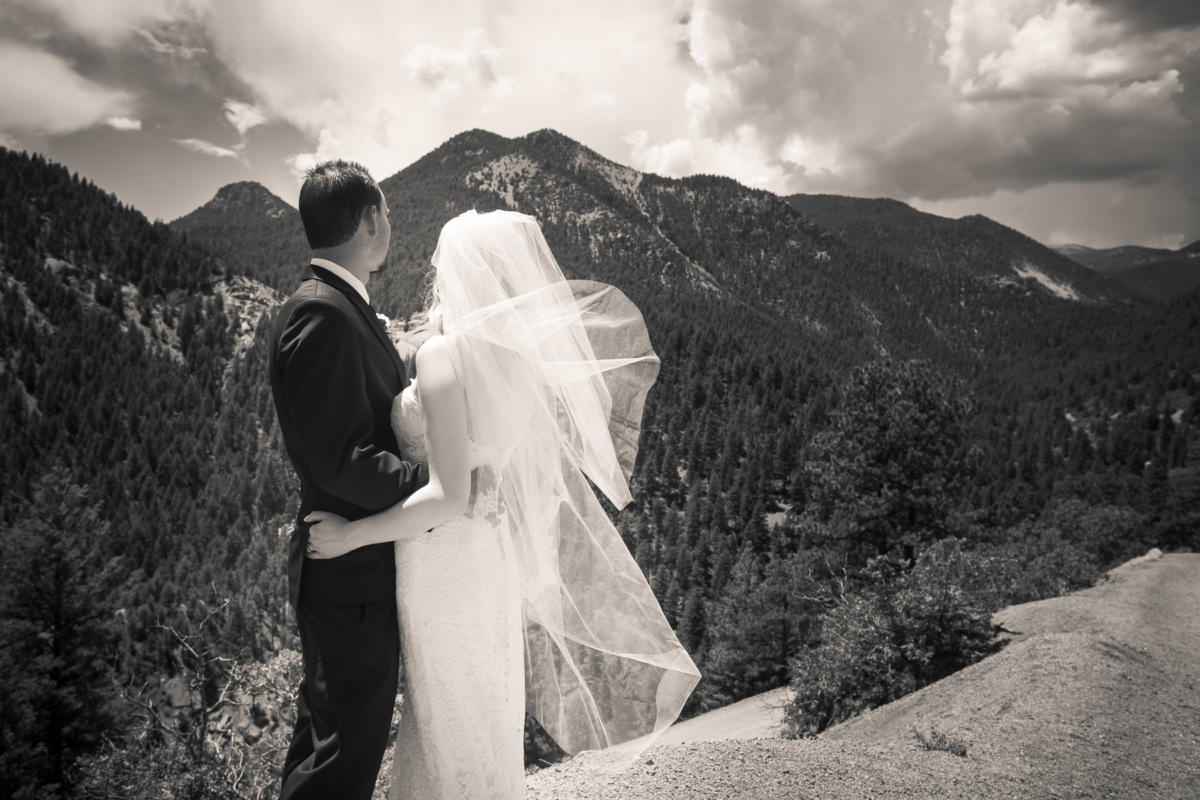 Black and white photo of bride and groom embracing with veil blowing at High Drive.