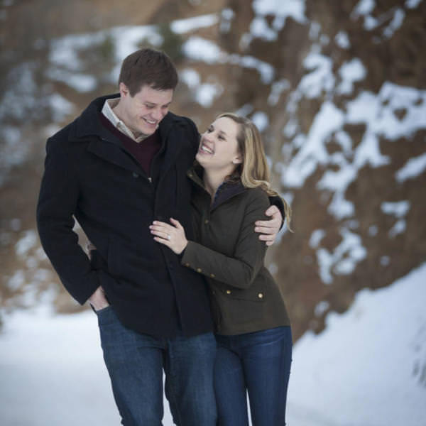 Caroline and Ben's Snowy Winter Engagement