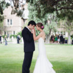 Bride and groom during wedding reception English garden