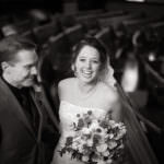 Bride and groom laugh at Boulder Street Church