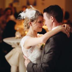 Bride Ika and groom Matt first dance during their wedding reception at Aspen Meadows Resort in Aspen, Colorado.