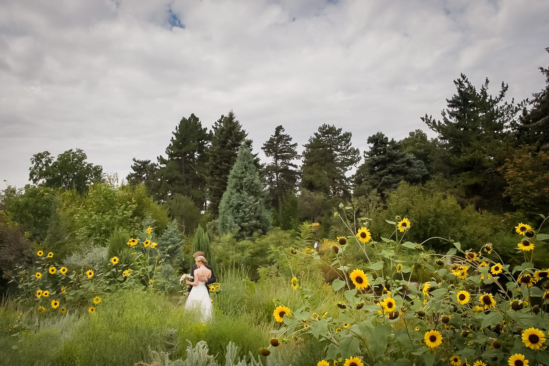 Bride and groom in Rock Alpine Garden at Denver Botanic Gardens wedding celebration.