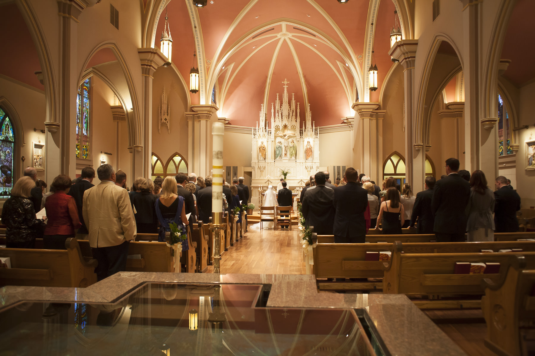 Catholic edding ceremony in the sanctuary at St. Mary's Cathedral in Colorado Springs.